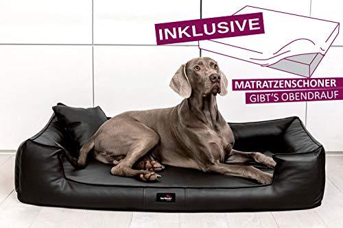 tierlando® Orthopädisches Hundebett Goofy VISCO | ~ inkl. Matratzenschoner ~ | Anti-Haar Kunstleder Hundesofa Hundekorb Gr. XL 120cm Schwarz Ortho