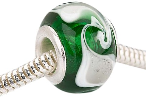 Beadaholique Murano Style Glass Lampwork Pandora Compatible Beads, 14mm, Emerald Green White Swirl