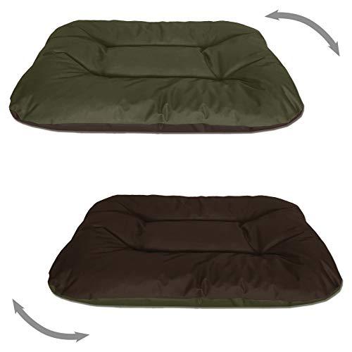 BedDog® 2in1 Hundebett REX, XL, grün-braun, Wende-Hunde-Kissen oval-rund, großes Hundekörbchen, waschbares Hundebett, Hundesofa für drinnen, draußen
