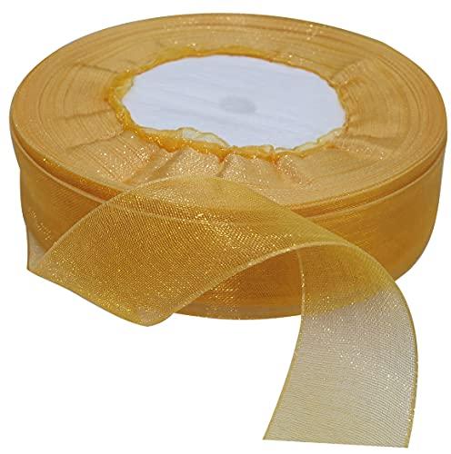 AERZETIX - Nastro di organza decorativo lucido - 20mm x 45 metri - ambra - progetti creativi cucito arte confezione regali festa compleanno - C50797