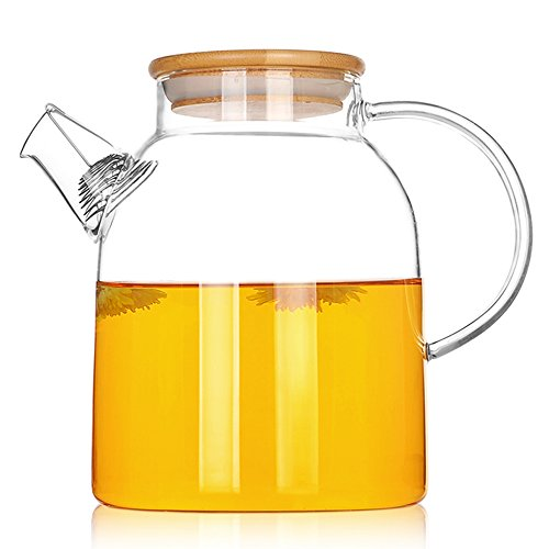 TAMUME 1500ML Glass Teapot with Large Spout and Filter Coil, Bamboo Lid (1500ml Bamboo)