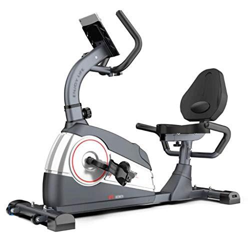 Cyclette orizzontale, cyclette per il controllo magnetico della casa, attrezzatura per la riabilitazione interna, di mezza età e per anziani, bicicletta a pedali, staffa per tablet,Gray,140*50*112cm