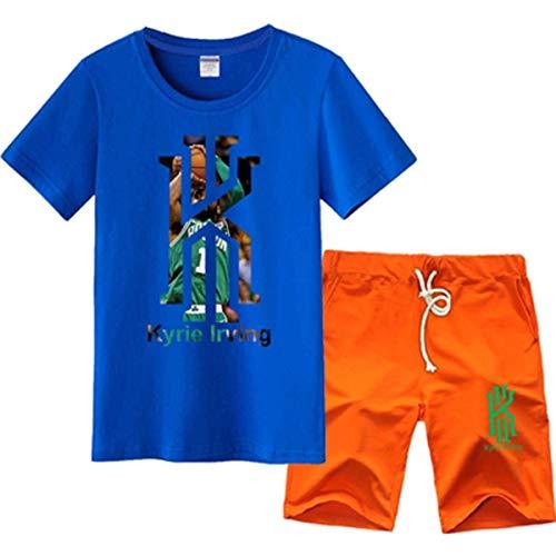 LLSDLS Camiseta NBA Jersey Set Boston Celtics Kyrie Irving Baloncesto Deportes Hombres Media Manga Entrenamiento Ropa Pantalones Cortos de Manga Corta Sudadera Azul-1-XXXL Camiseta