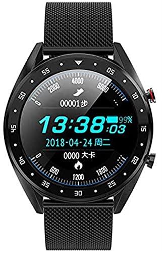 TCHENG Smart Watch Soporte Llamada telefónica Marcador de tarifas cardíacas Medida SmartWatch IP68 Hombres Impermeables Mujeres Relojes para Android/iOS (Color : Black Steel)
