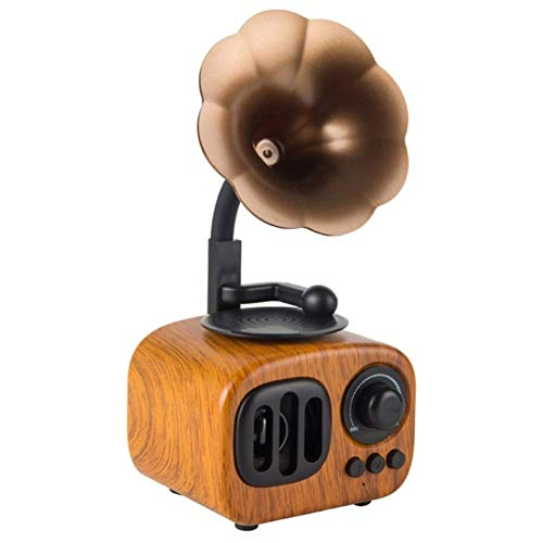 LHFLU-SP Altavoz Bluetooth Retro Estéreo inalámbrico Subwoofer Caja de música Altavoces de Madera con Radio FM de micrófono TF para teléfono,Light Wood