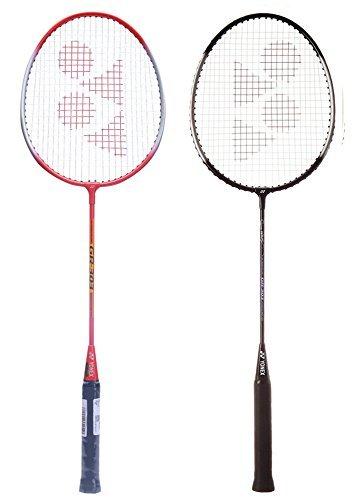 Yonex GR 303 Combo Badminton Racquet, Set of 2 (Black/Red)