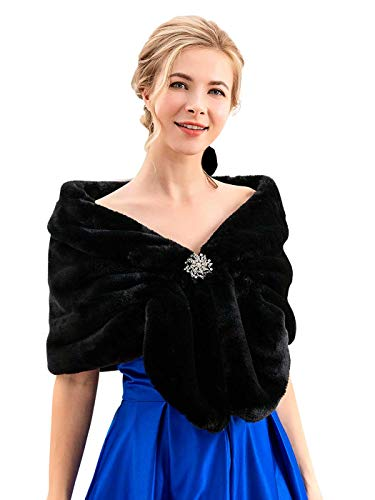 Chicer Bride Wedding Faux Fur Shawls and Wraps Bridal Fur Scarf Stoles for Women and Girls (Black)
