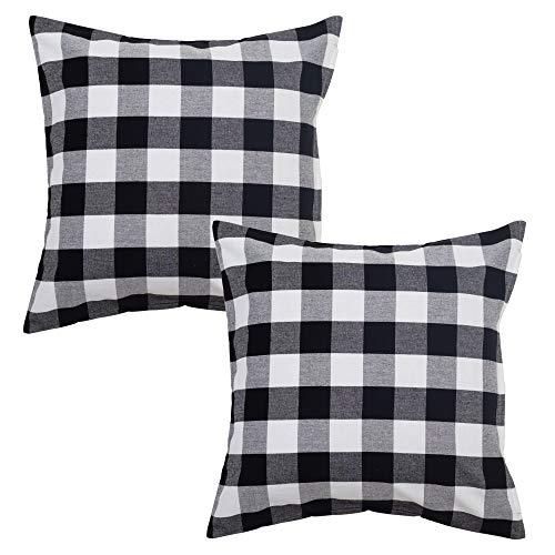 Asquare Kissenbezug 50x50 Kariert - Kissen Bezug aus hochwertiger Baumwolle - Kissenhülle mit Schwarzem Reißverschluss - Pillow Cover - Kopfkissenbezug im 2er Set