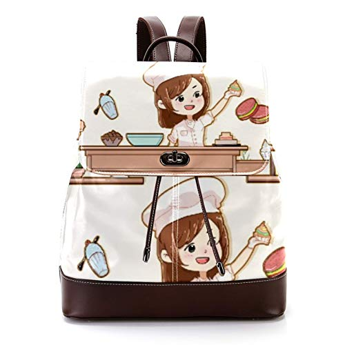 Casual PU Leather Backpack for Men, Women's Shoulder Bag Students Daypack for Travel Business College Best Kitchen