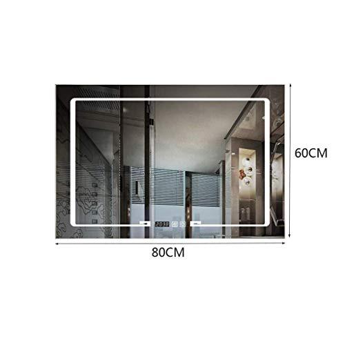 WEHOLY Wandmontiertes Haushaltsbadezimmer mit rahmenloser LED-Lampe Waschtisch Smart mit Lampenspiegel, kreuzweiße Lampe, 60 * 80 cm