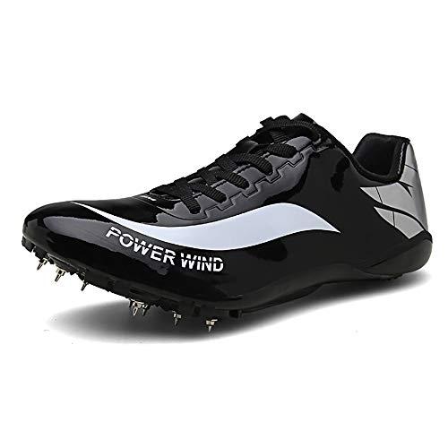 ZLYZS Zapatos De Atletismo, Sprint Spikes Running Spikes Zapatos Unisex Junior De Salto De Longitud Competencia Juvenil para Adultos Calzado Deportivo Profesional para Uñas,Negro,EU36