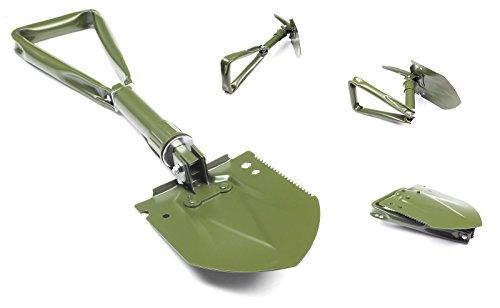 Inox Trade Multifunktionaler 3 teiliger Bundeswehr Klappspaten mit original Tasche, Spaten Feldspaten Hülle 60 cm NEU