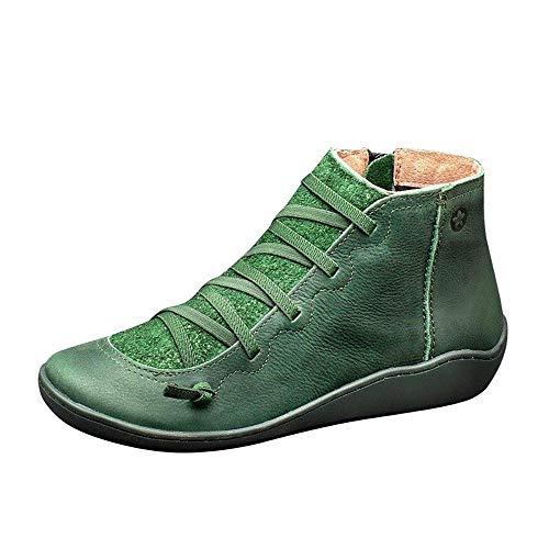 WYCDA Dameslaarsjes, vlakke smalle schacht, rubberlaarzen, eenkleurig, met veters, comfortabel, scheurvast, duurzaam, ideale winterschoenen, voor outdoor-wandelen