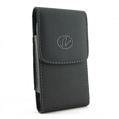 Black Vertical Leather Phone Case Cover Pouch Belt Holster Clip for Verizon iPhone 7 - Verizon iPhone 8 - Verizon BlackBerry Classic