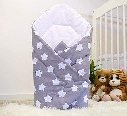 Baby Swaddle WRAP Newborn Infant Bedding Blanket Cotton Sleeping Bag Cotton WRAP (Big White Stars on Grey Background)