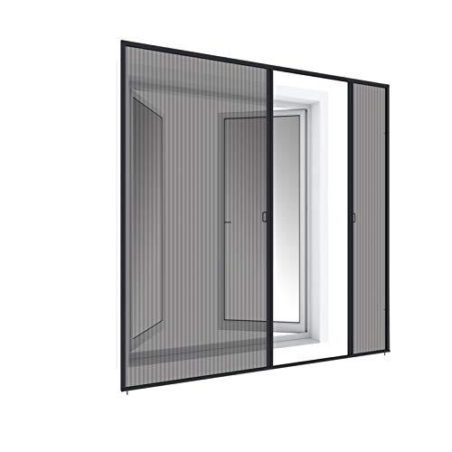 WIP Insektenschutz Fliegengitter Plissee-Doppeltür 240x240cm, anthrazit
