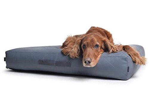 PadsForAll hondenkussen hondenbed van krasbestendig kunstleer, grijs, naar wens met orthopedisch visco-schuim, L 130x110cm, Visco Schaumstoff