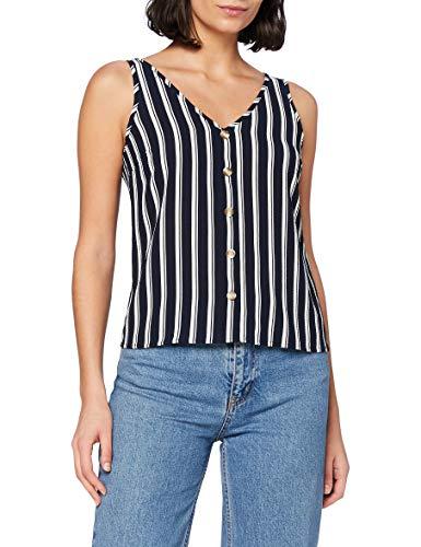 Vero Moda Vmsasha SL Button Top Noos Camisa, Navy Blazer/Stripes: Snow White Coco, M para Mujer