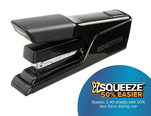 Bostitch EZ Squeeze 40 Sheet Flat Clinch Desktop Stapler, Reduced Effort, Black (B9040) Photo #4