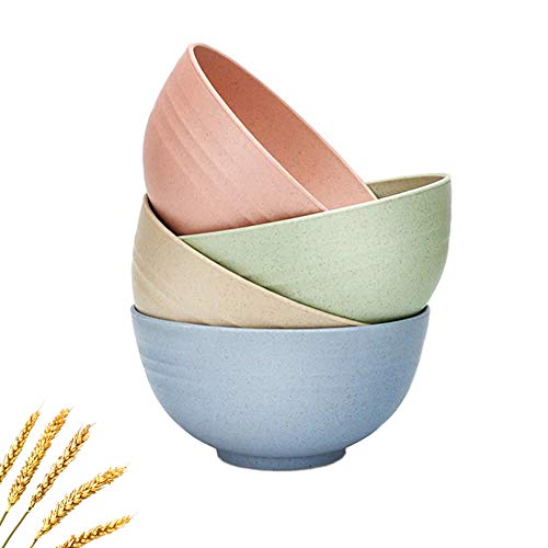 4Pcs 5.1inch Unbreakable Cereal Bowl Wheat Straw Bowlss Food-safe Lightweight Reusable Tableware Dinnerware Fruit Snack Container Healthy for Kids Adult