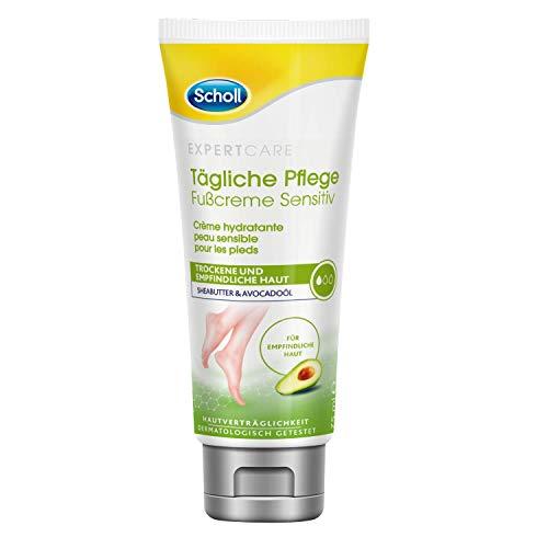 Scholl Tägliche Pflege Fußcreme Sensitiv – Unparfümierte, intensiv pflegende Fußcreme für empfindliche & trockene Haut – 1 x 75ml