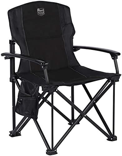 Timber Ridge Leichter Klappstuhl Faltbarer Campingstuhl tragbar für Freien Angeln Balkon Angelstuhl mit Harter Armlehnen und Seitentasche belastbar bis zu 150kg
