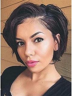 Short Human Hair Wigs For Black Women Straight Full Lace Wig Brazilian Human Hair Bob Wig with Baby Hair Natural Color Side Part 130% Density 8inch