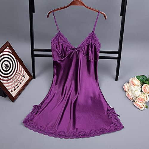 Camicia da Notte Vestaglia Camicie da Notte Senza Maniche Slip da Donna Sexy Scollo A V Mini Camicia da Notte Camicie da Notte Bretelle Lingerie XL Viola