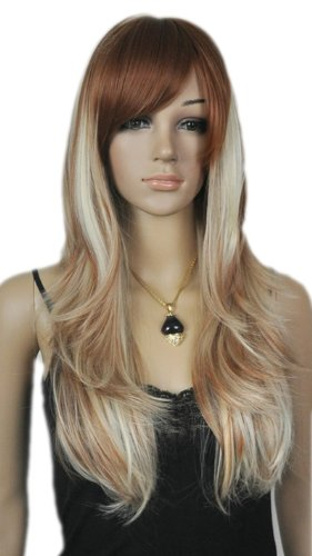 Qiyun Longue Raide Mixte Color Brun Argent F¨ºte Costumee Cosplay Complete Cheveux Perruque