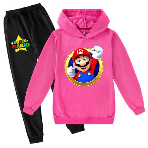 LIYIMING Super Mario - Sudadera con capucha y pantalón (tallas 3-15 y Mario 6,13-14 Y)
