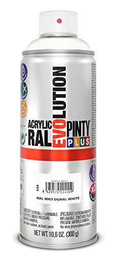 PINTYPLUS EVOLUTION 544 Pintura Spray Acrílica Brillo 520cc Signal White Ral 9003, Non Concerné, 300 g (Paquete de 1)