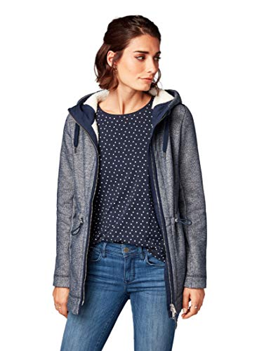 TOM TAILOR Damen Outdoor Sweatjacke mit Kaputze Sweatshirt, Blau (Real Navy Blue 6593), Large