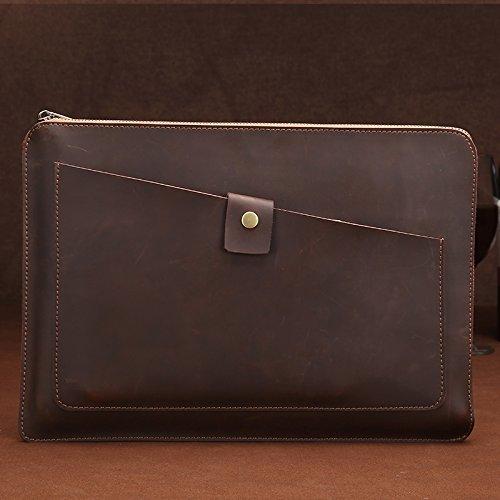 Borse per Notebook e Accessori Borsa Tablet Universale Genuine Leather Affari Zipper Portatile, for 15.4 Pollici e sotto MacBook, Samsung, Lenovo, Sony, dell Alienware, CHUWI, ASUS, HP (caffè) Ctj