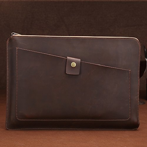 WXX Universal Genuine Leather Business Laptop Tablet Zipper Bag, For 13.3 inch and Below Macbook, Samsung, Lenovo, Sony, DELL Alienware, CHUWI, ASUS, HP(Coffee) (Color : Coffee)