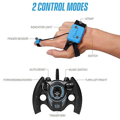 1:16 4WD RC Stunt Auto Uhr Control Deformable Geste Induktion mit LED-Licht Electric Transform Drift Toy Blau