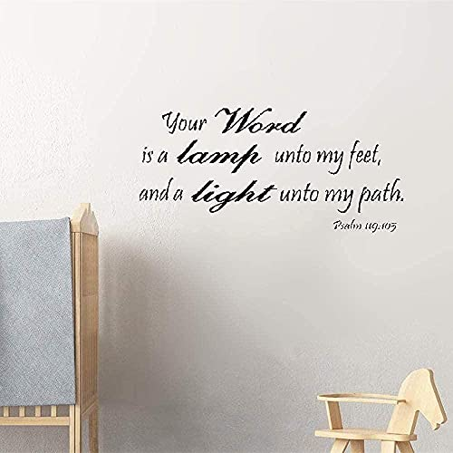 Tu mundo es una lámpara en mis pies y una luz en mi camino Versículos bíblicos Salmo 119: 105 Tamaño 26X15 pulgadas