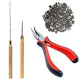 TIHOOD Hair Extension Kit Pliers Pulling Hook Bead...