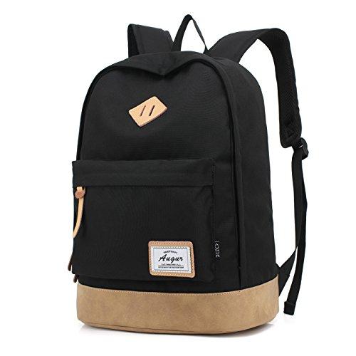Augur Casual Laptop Backpack Lightweight Classic Bookbag Water Resistant Rucksack for Travel (Large, Black)