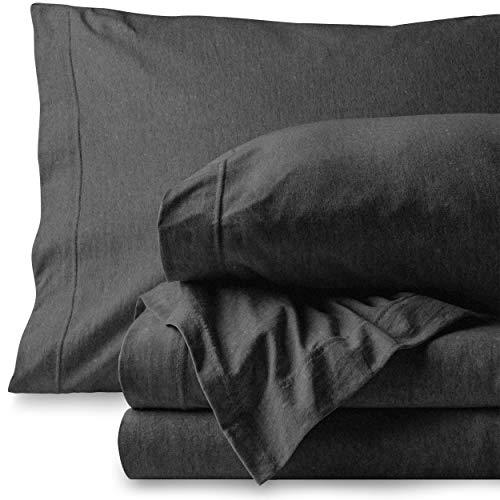 Bare Home Jersey Sheet Set, Ultra Soft, 100% Cotton - Breathable - Deep Pocket (Twin XL, Lavender)