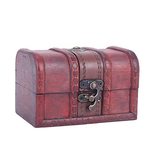 Gesh Caja de almacenamiento para collares y pulseras de estilo vintage con varios tipos de cajas de madera. Tamaño: 12 x 7,8 x 8 cm.