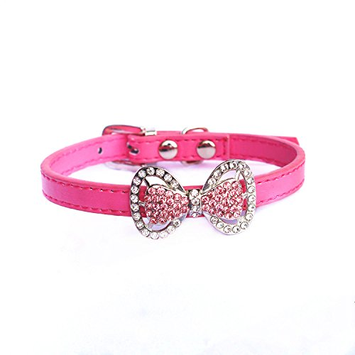PETFAVORITES Leather Rhinestone Bow Tie Pet Cat Dog Collar Necklace Jewelry for Small Dogs Girl Kitten Puppy Teacup Chihuahua Yorkie Clothes Costume Outfits (8.7 to 10.7-Inch, Hot Pink)