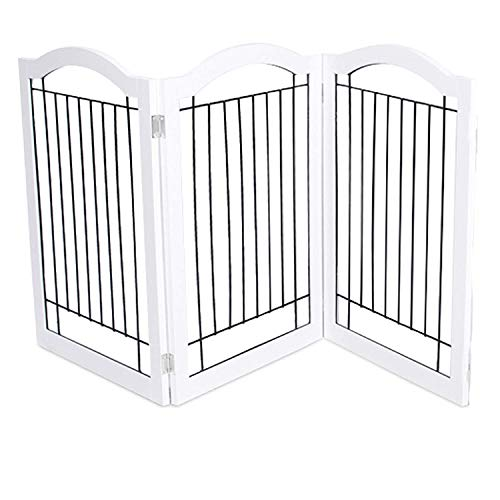 Internet's Best Wire Dog Gate with Arched Top - 3 Panel - 30 Inch Tall Pet Puppy Safety Fence - Fully Assembled - Durable MDF - Folding Z Shape Indoor Doorway Hall Stairs Free Standing - White