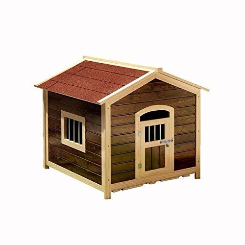 Kennel LKU Verkoolde kennel waterdichte zonwering anti-corrosie klein huis hondenhok voor buiten huisdier kennel, 65x65cm2,65x65cm