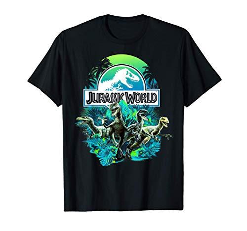 Jurassic World Blue Green Jungle Velociraptor Attack Camiseta