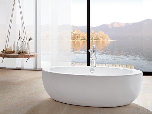 'aquaSu® Acryl-Duobadewanne Melodia | Große Badewanne | Freistehend | 186 x 89 cm | Weiß | Wanne | Badewanne | Bad | Badezimmer | Acryl | Komfort