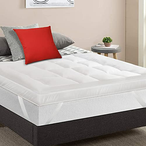 MightySoft Mattress Topper Double - Extra Thick & Quilted, Fluffy &...