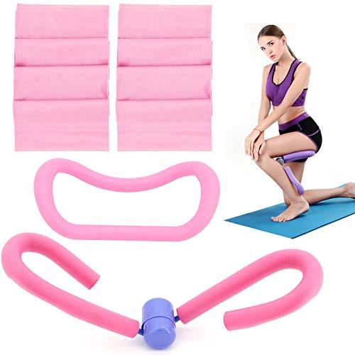 ShawFly Oberschenkelschneider Ausrüstung Beintrainer und Yoga Stretching Fitness Pilates Ring mit 2 STK. 1,5 m Widerstandsbänder Training für Taille, Hüften, Arme, für Krafttraining (Rosa)