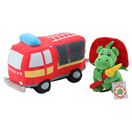 Sweety Toys 12213 Set Grisu Plüsch Feuerwehrmaskottchen 20 cm & Plüsch Feuerwehr Auto Lastwagen ca. 30 cm
