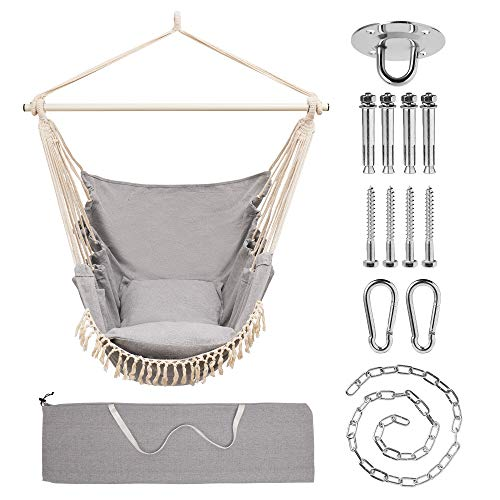 LEEHOOYIAN,Hammock Hanging Chair, Rope Hammock Chair Swing, Swings Chair with Hardware Kit, Cotton Canvas Macrame Hanging Chair with Seat Cushions for Bedrooms, Indoor, Outdoor (Light Gray)
