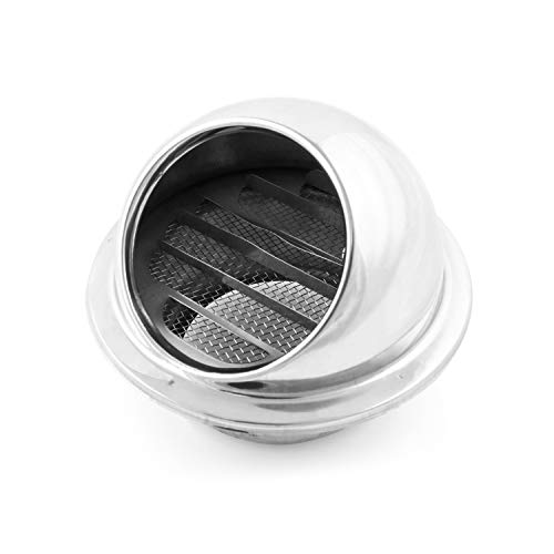 QWORK 4 Inch Ventilation Outlet Air Vent Round Grille Cover 304 Stainless Steel Wall Vent Hood Bull Nosed External Extractor